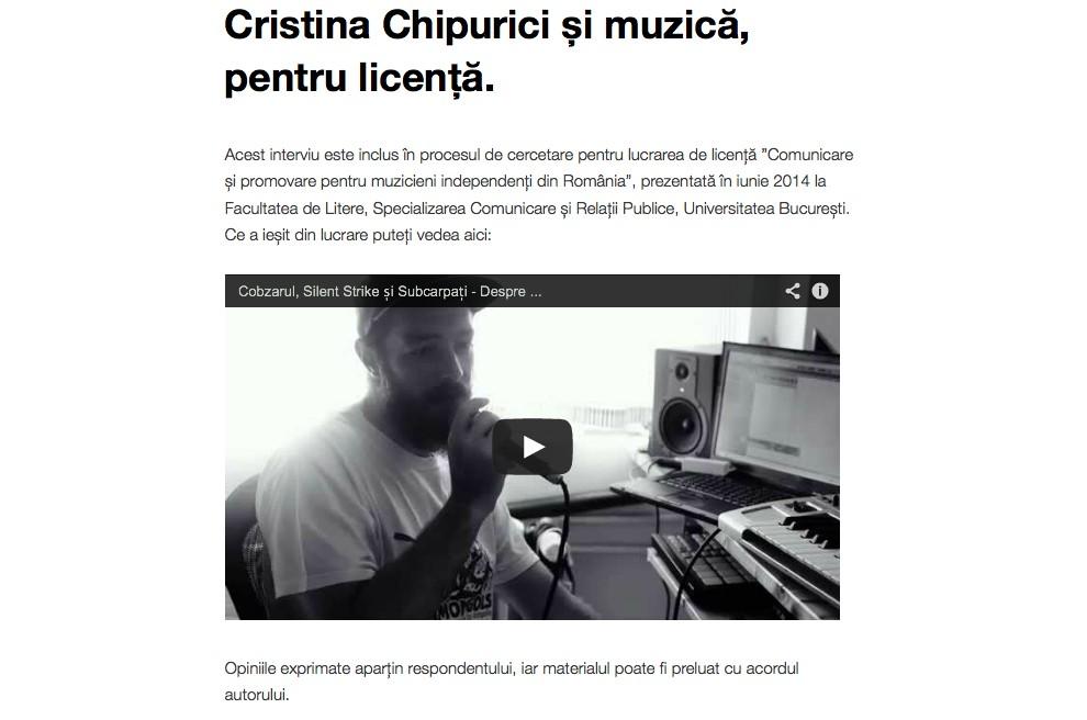 Interviu Pyuric - licenta Dana Berghes